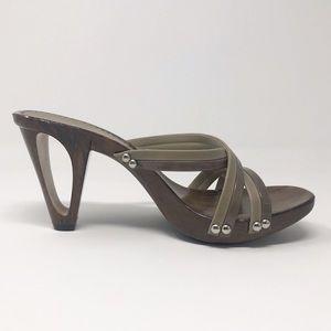 Italian Shoemakers Strappy Wooden Sandals heels 6